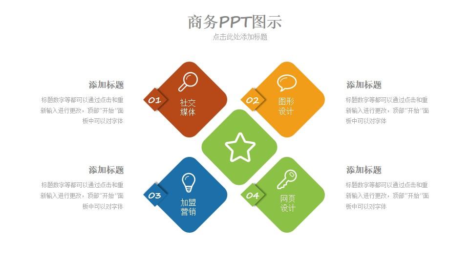 并列关系的商务图示PPT模板