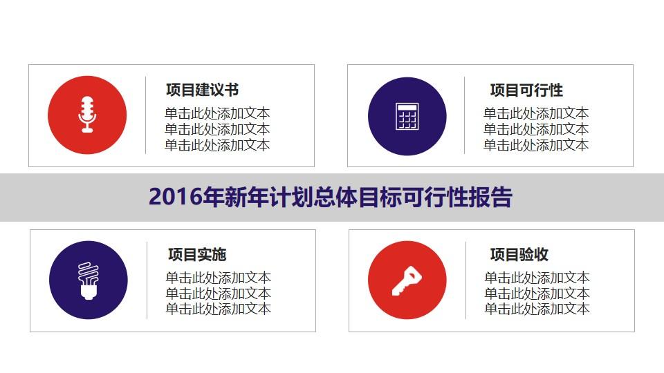 新年计划总体目标可行性报告PPT素材模板