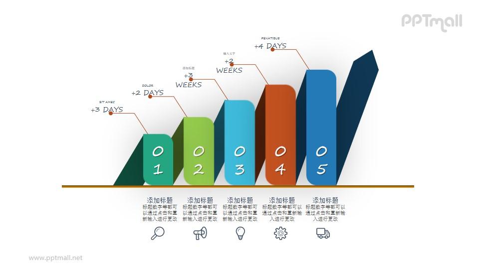 逐级递进的PPT数据图示素材