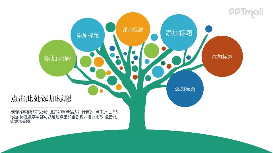 可以写入许多内容的一棵完整的大树PPT图示素材