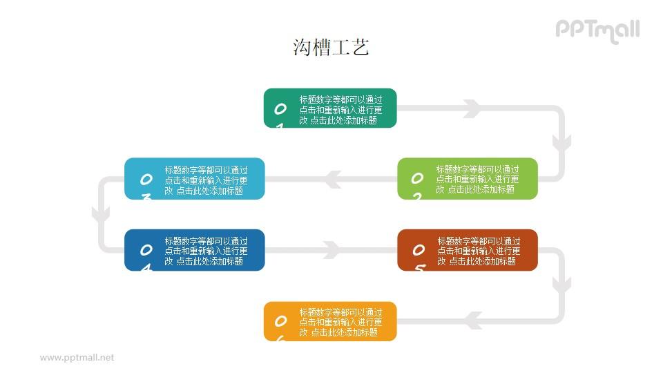 时间轴/多步骤流程图PPT图示素材