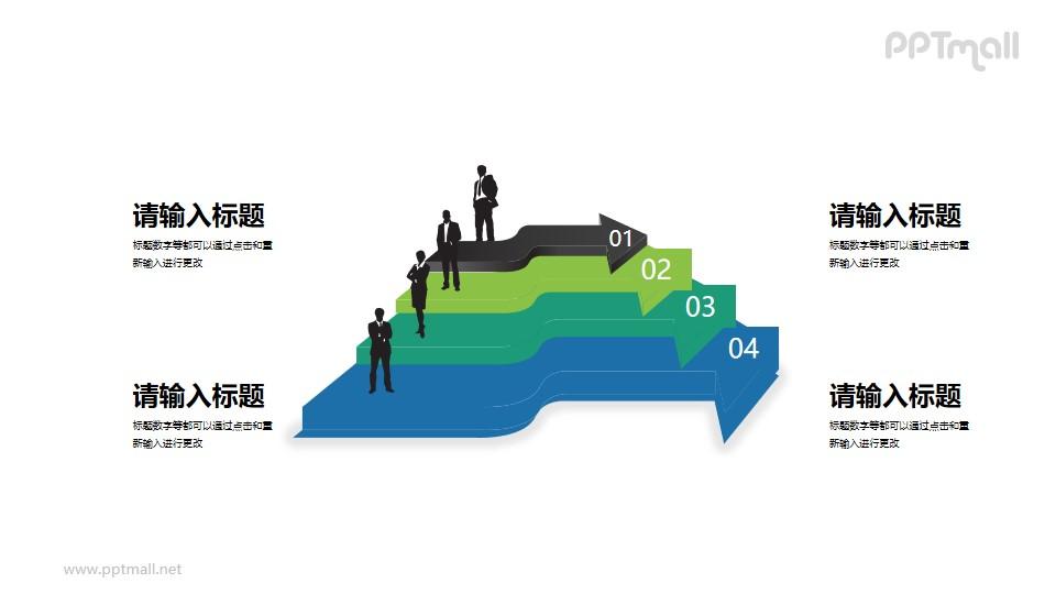 商务人物+立体箭头组成的4部分内容PPT素材