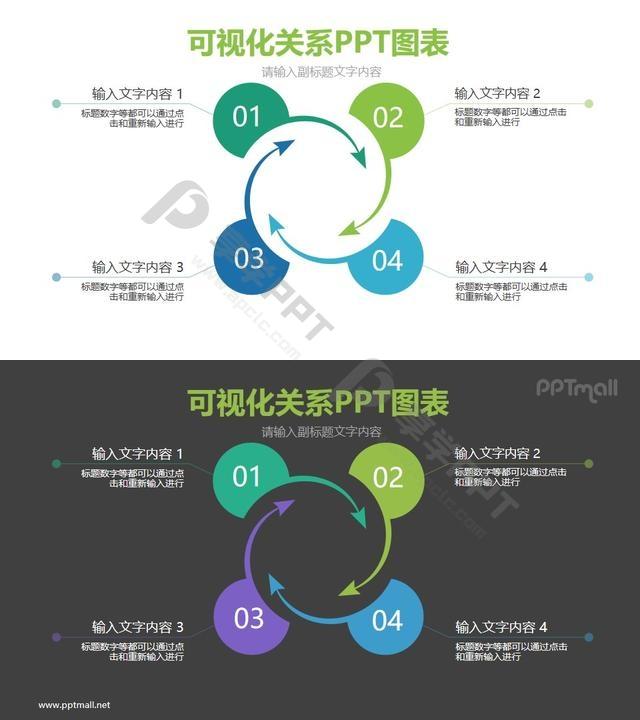 4部分带旋转箭头的循环关系PPT模板图示长图