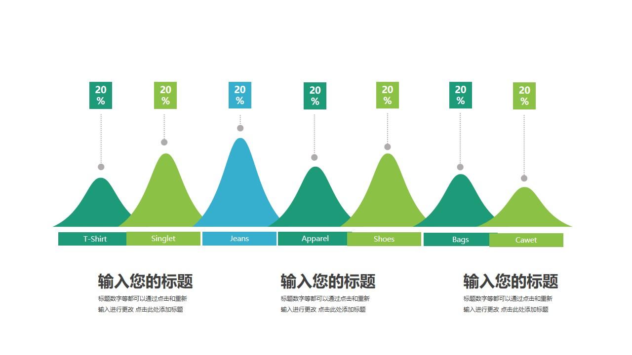 山峰样式账单占比面积图PPT模板图示