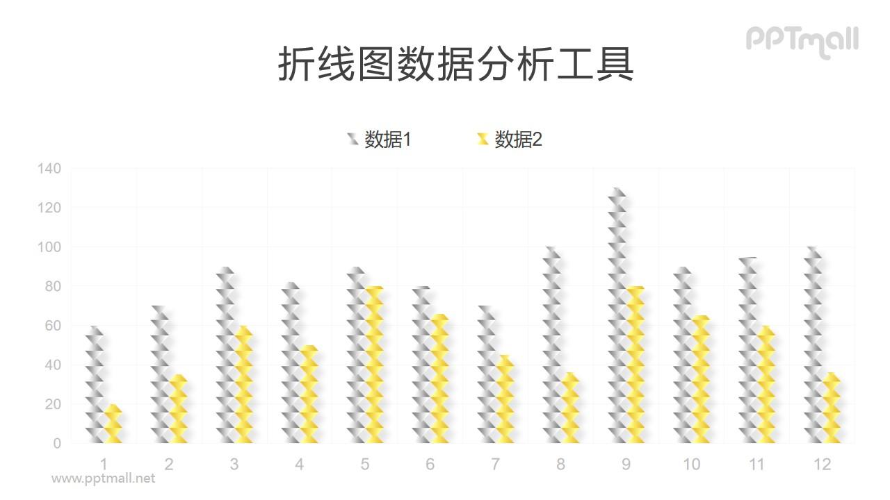 异形的柱状图PPT图表模板素材