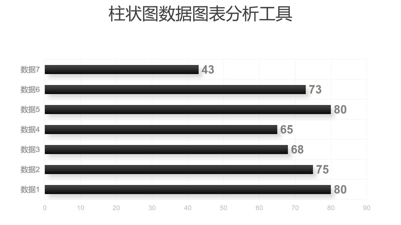 黑白简约条形图数据分析工具PPT图表