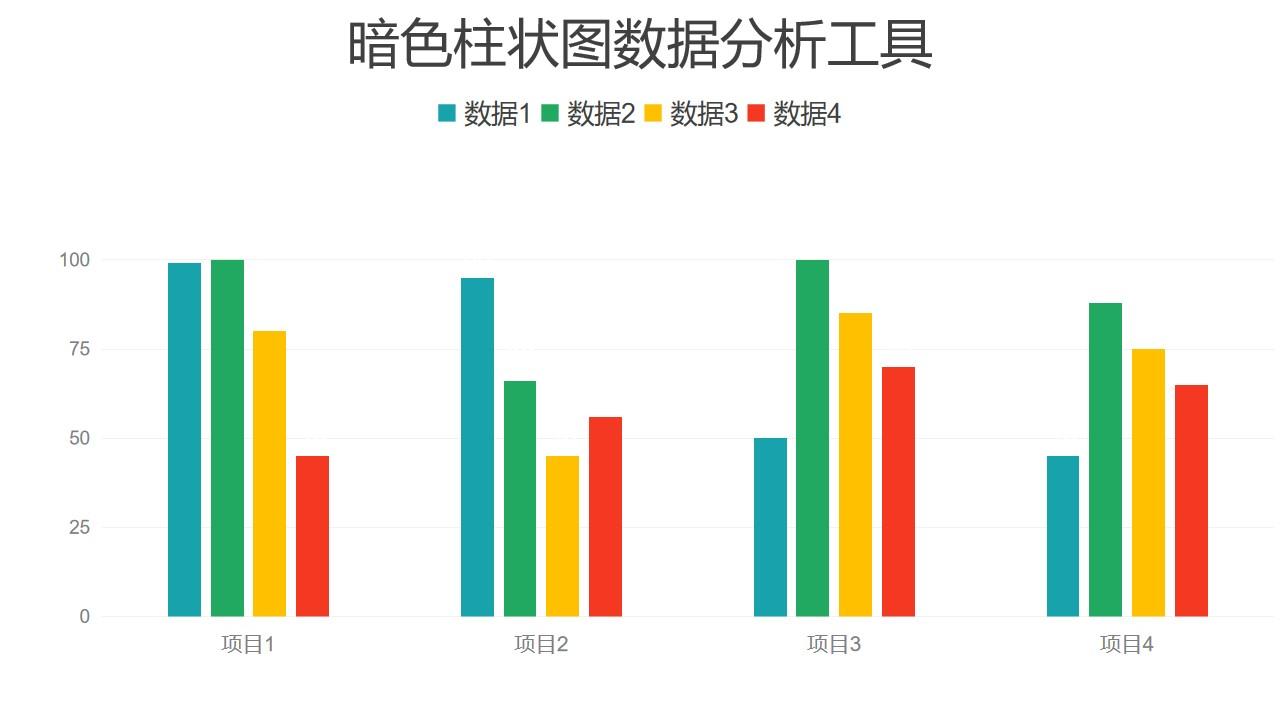 彩色柱状图四组数据对比分析PPT图表