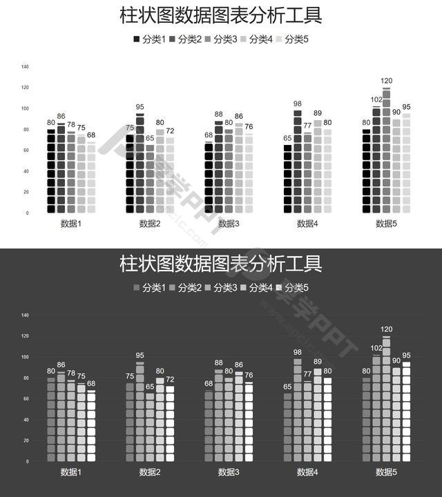柱状图数据图表分析工具PPT图表长图