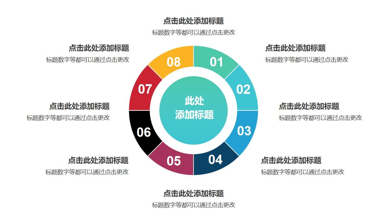 8部分空心圆形状的彩色饼图并列关系逻辑图PPT模板