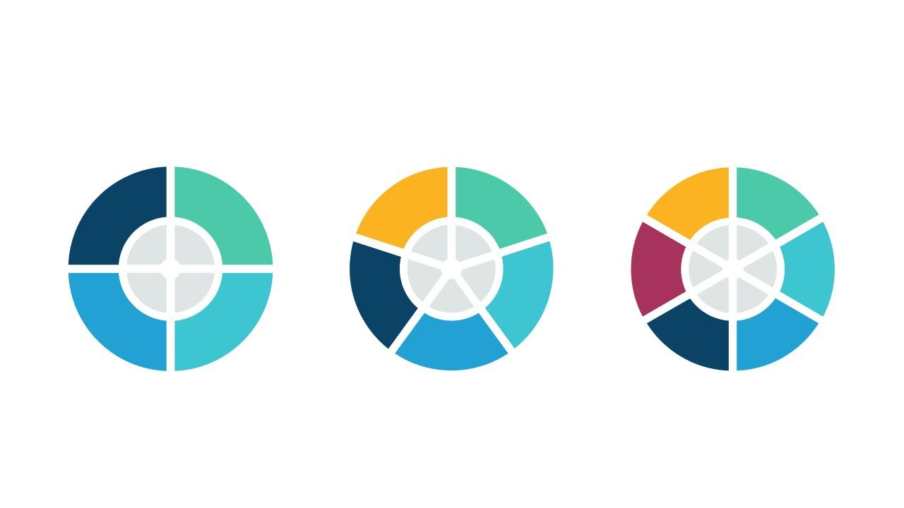3个彩色饼图并列关系逻辑图PPT模板