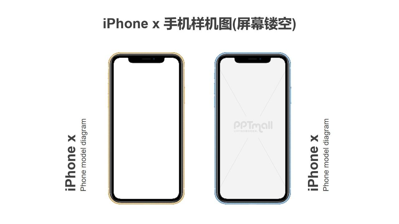 2台iPhone x带文字说明的样机PPT素材模板