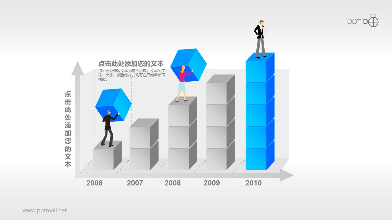 反映业务/经济增长的柱状图PPT素材