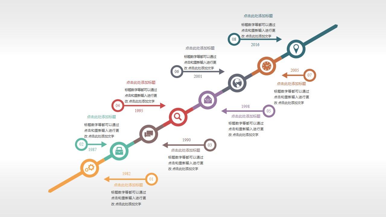 超多项扁平信息图时间轴PPT模板