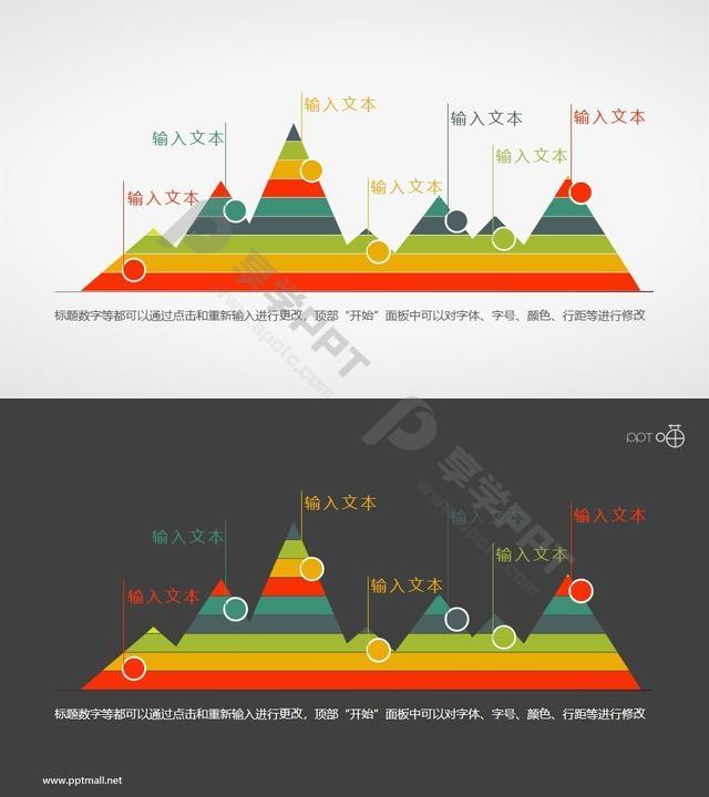 扁平化彩色峰面积图PPT素材长图