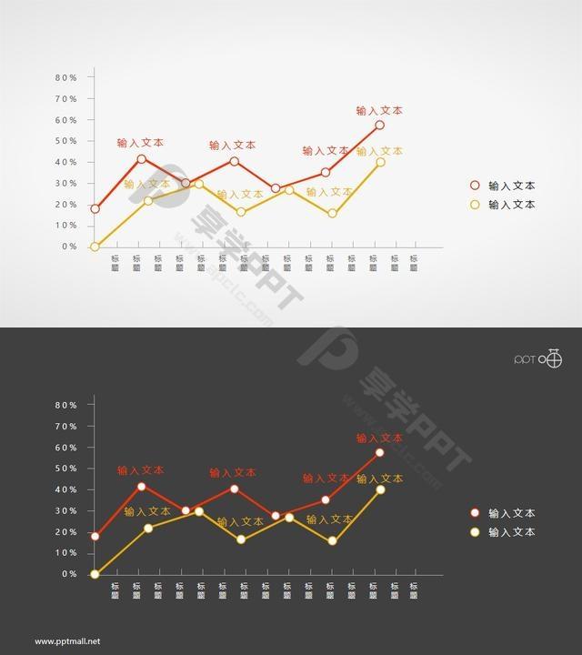 线条简洁的折线图PPT素材长图
